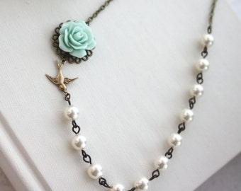 Wedding Jewelry Bridesmaid Necklaces Jewelry Mint Green Rose Flower  Flower Bird Swallow Ivory Swarovski Pearls Maid of Honor