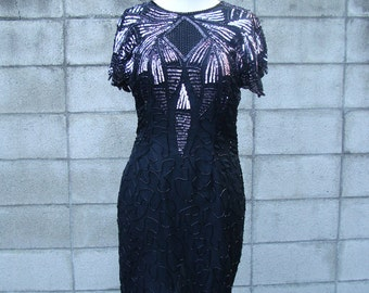 Black Beaded Dress Vintage 1980s Sequin Baroque Jeweled Women's size PS