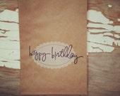 happy birthday kraft scalloped paper bags, 5x7