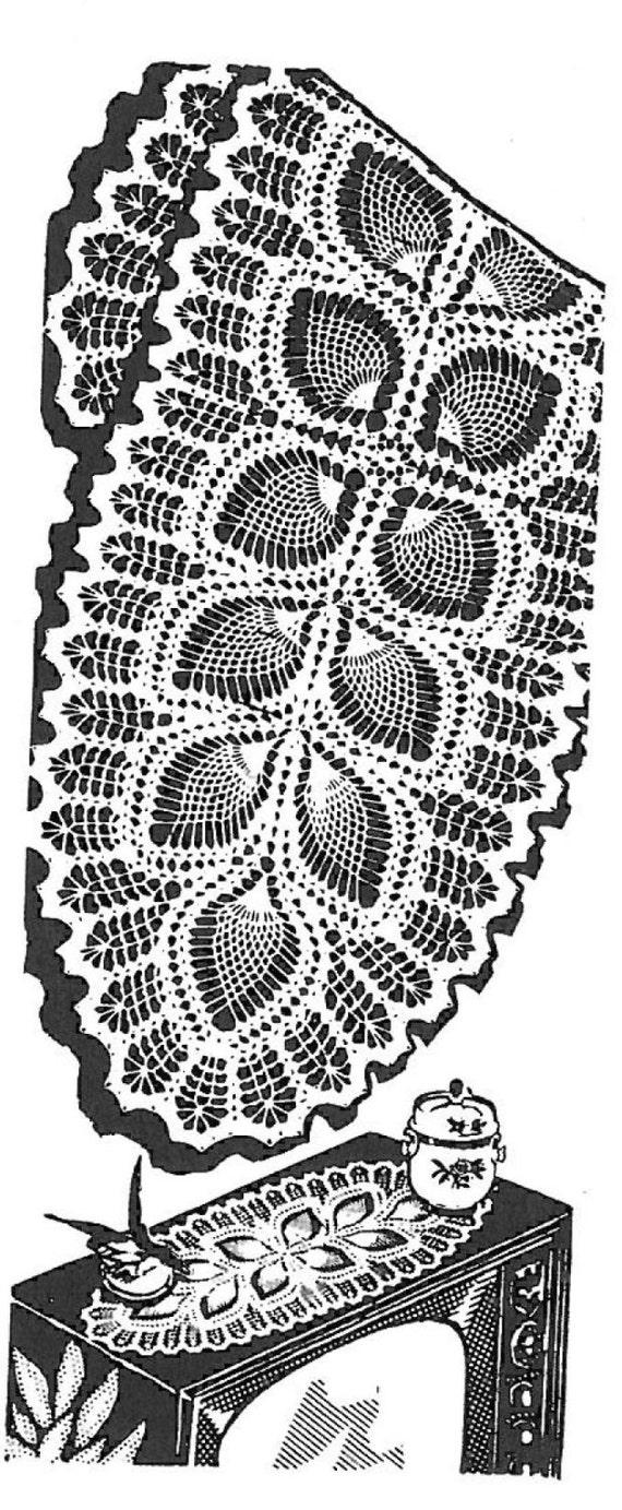 Vintage Crochet Pattern 7293 Oval Doily Scarf Leaf Amp Pineapple
