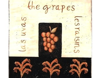 French Grape Sign Hand Painted Wood Plaque 441