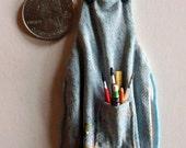 Miniature Denim Artist Apron  1:12 scale