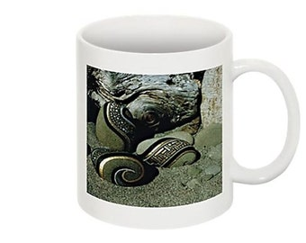 Coffee Mug Beach Sand Rocks Driftwood Unique Zen Photo Mug Black and Gold Silver White Ceramic Mug Unique Gift Ideas Cool Gift for Him