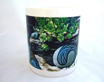 Blue & Green Coffee Mug Unique Mug Beautiful Blue Mug Rustic Wood Green Leaves Gift Under 20 Unique Gift for Her Office Gift Christmas Gift