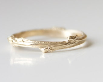 Twig Ring 14k Yellow Recycled Gold Branch Band