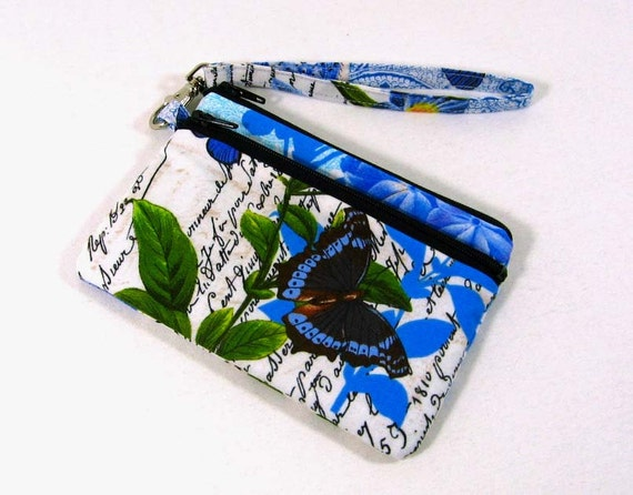 Small id wristlet - id purse, coin purse , credit card pouch - French Journal Collection -- On sale