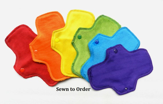 Set of 6 Rainbow Minky Pantyliners