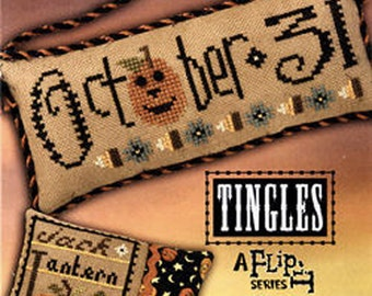 Lizzie Kate Double Flip Tingles F143 - October 31 Jack O Lantern - Halloween Counted Cross Stitch Chart Pattern with Buttons