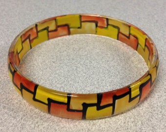 1970s Vintage Plastic Mosaic Design Bracelet in PEACH YELLOW and Light YELLOW