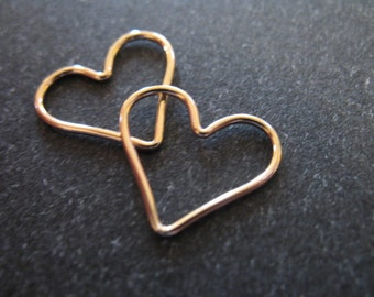 Shop Sale..5 pcs Bulk, HEART Charms Pendants Links Connectors, Plain, 15.5x14 mm, pick 14k Gold Fill or Sterling Silver, brides bridal hp