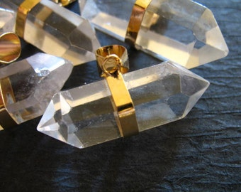 Shop Sale.. 1 pc, Crystal Quartz POINT, Double Terminated Crystal Point Pendant, Gold Plated, 25-30 mm x 8-10 mm, ap ap70.5 solo