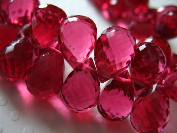 Shop Sale.. 4 10 pcs, QUARTZ Briolettes Teardrops Drops, 12-12.5 mm, Tourmaline Pink, Faceted, October birthstone wholesale hydqtz70 bsc