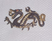 Vintage Rhinestone Black Dragon Brooch or Pin