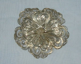 Antique Silver Filigree Brooch or Pin