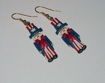 Handmade Clay Uncle Sam Earrings - Pierced