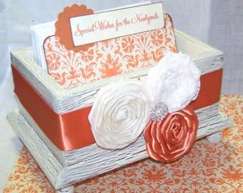 GUEST BOX, Advice Box, Guest Book, Ivory Shabby Chic Box, Orange and Ivory and Laceace