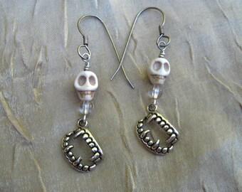 Sale vampire halloween teeth skull earrings