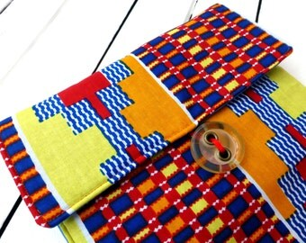 Ipad sleeve, Tablet sleeve African wax print