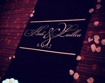 Aisle Runner, Wedding Aisle Runner, Black Aisle Runner, Monogram// Quality Fabric that Won't Rip or Tear