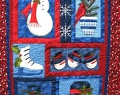 Christmas in July Quilted Winter Wall Hanging Snowmen in blue and red
