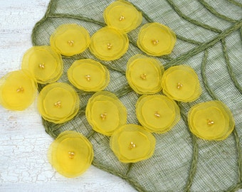 Sheer voile fabric flower appliques, silk fabric flowers, floral embellishments, floral wedding supplies (15pcs)-  BRIGHT YELLOW DANDELIONS