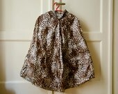 Leopard Raincoat, Vintage Inspired Cape with Hood, Available in Brown and Grey Animal Print