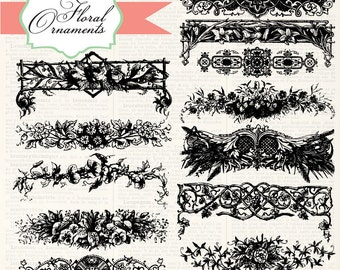 Vintage Floral Ornaments, digital clip art and photoshop brushes: Instant Download