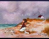 Last Day At Lands End a tiny Beach Seaside Maltese PRINT form the original by Deborah Gregg