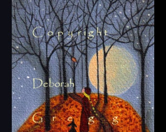 One Last Leaf  a tiny aceo sized Autumn Leaves Fall Print by Deborah Gregg