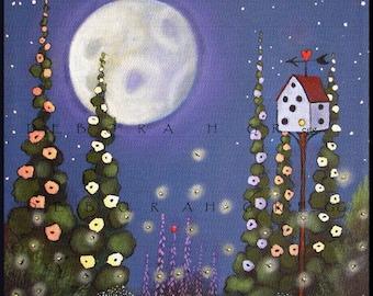 Light Up For Love a summer night fireflies lightning bugs Moon PRINT by Deborah Gregg