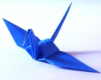 100 Small Origami Cranes Origami Paper Cranes - Made of 7.5cm 3 inches Japanese Paper - Cobalt Blue