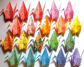 20 Large Origami Cranes Origami Paper Cranes - Made of 15cm 6 inches Japanese Washi Chiyogami Paper