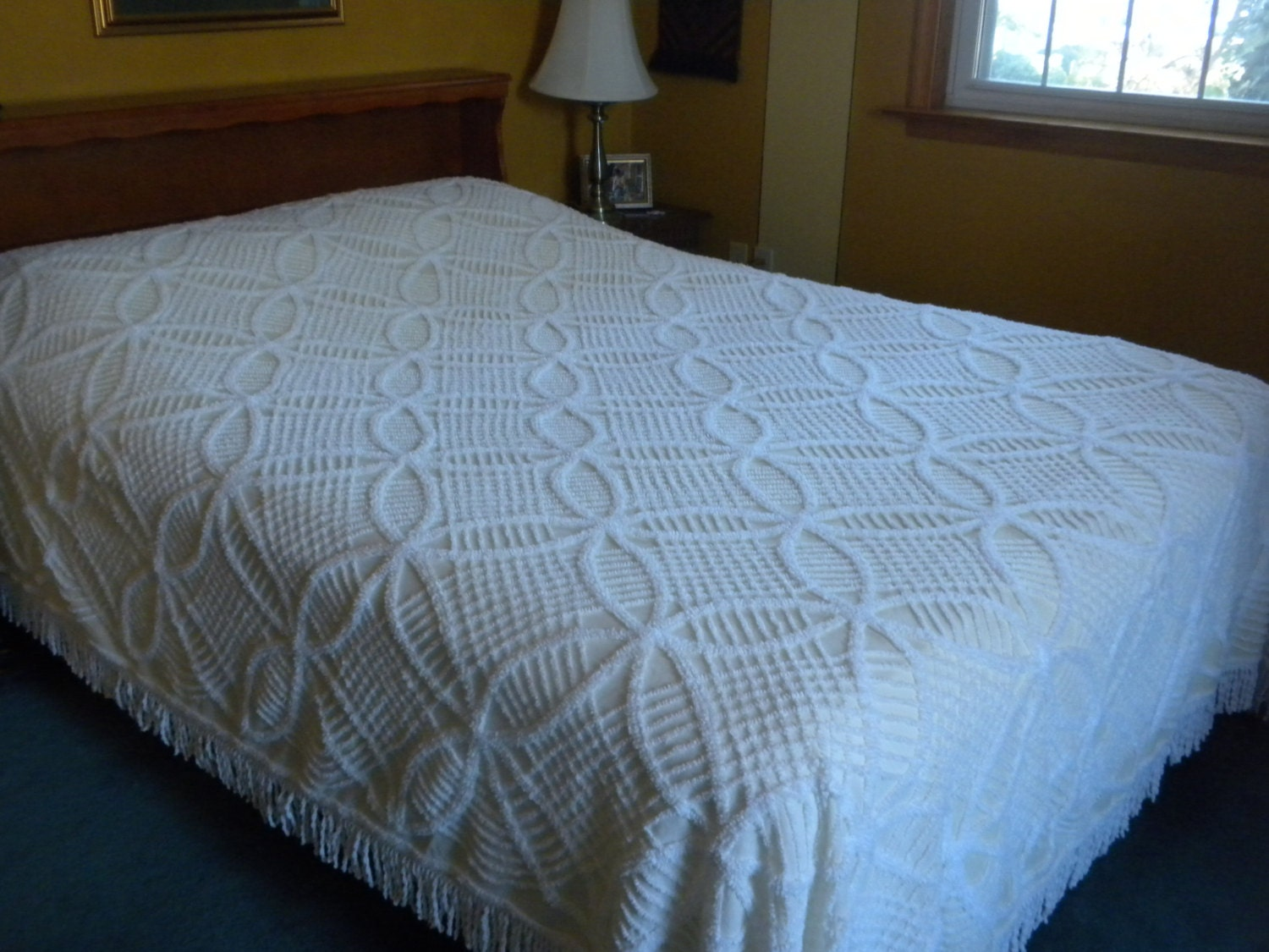 Vintage Chenille Bedspread Double To Queen Size Soft By