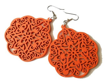 Large Orange Turquoise Wooden Earrings, Moroccan Style Pattern