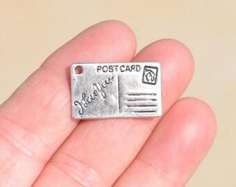 5 Silver Postcard  Charms SC1424