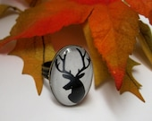 DEER Ring // oval image under glass dome // set in ox brass // black on white // Woodland, Forest Creatures