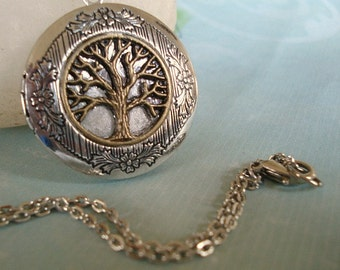 Tree of Life Necklace Silver Tree Locket Silver Round Locket Necklace Round Silver Tree Jewelry Family Locket