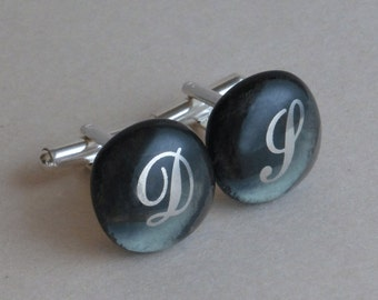 Monogrammed Cufflinks - Platinum initials on gray - Fused glass