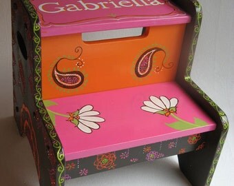 Personalized Step Stool Pink, Orange, Brown and Green