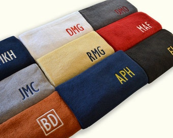 EMBROIDERED MONOGRAM on TOWELS - College Traditional Colors - Graduation Gift for Freshman - Bath Towel