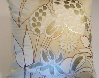 PILLOWS Hand Painted Cotton - Metallic Colors - Painted on Both Sides