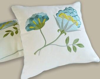 embroidered pillow linen exotic flower cream aquamarine turquoise acid green luxury