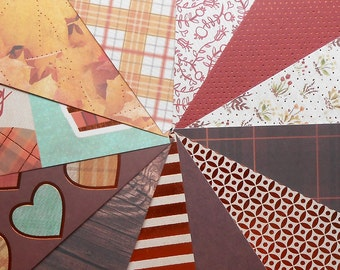 DESTASH - DCWV Sweater Weather: Leaf Pile - Pack of 12 Different Scrapbook Papers, 6 inch X 6 inch