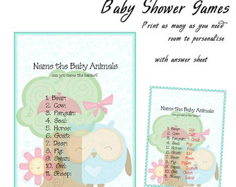 Baby Shower Printable Game Blue Owl Baby Animals