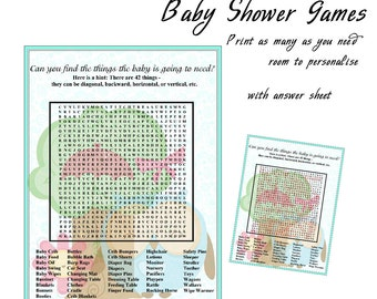 Baby Shower Printable Game Blue Owl Large Wordfind