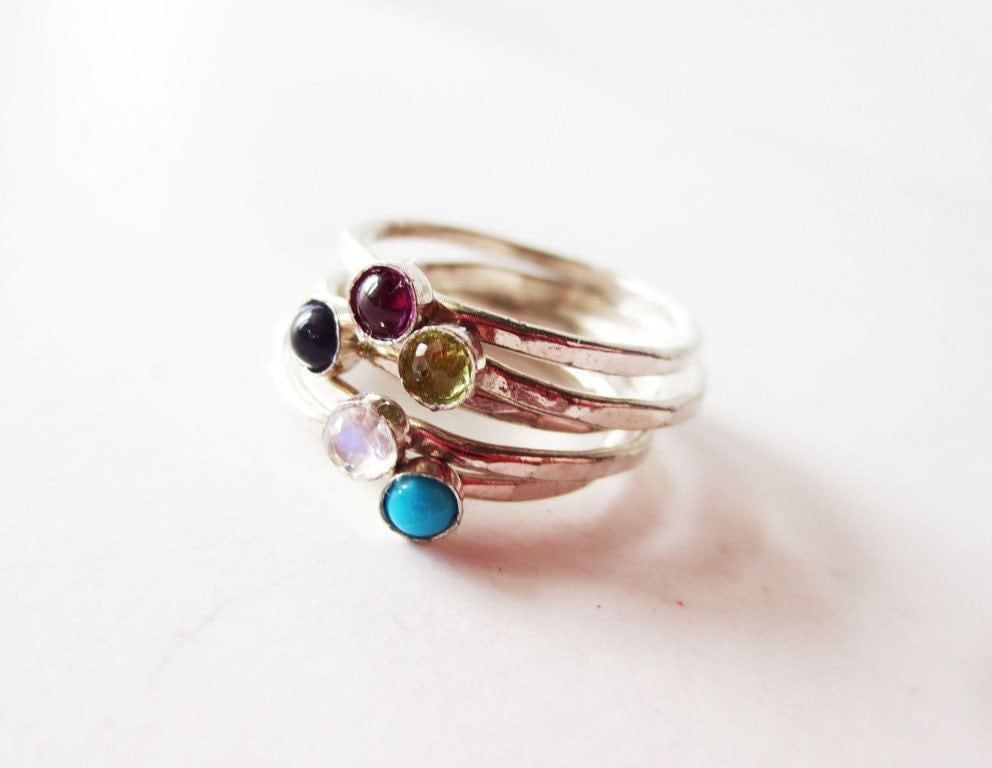 stacking ring set stackable rings gemstone rings small