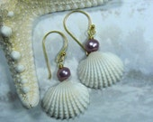 Seashell Orchid Pearl Earrings - Pearly Mermaid