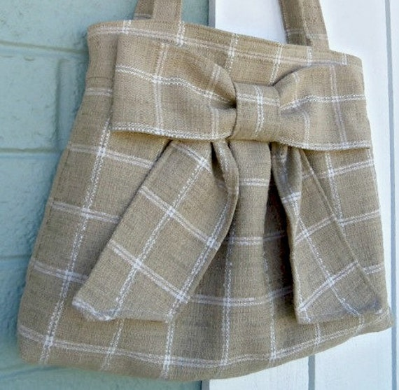 free shipping in US-- Tan Bow Bag / Purse w/ Double Straps-- OOAK --Ready to ship