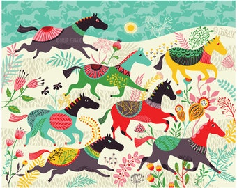 Wild Horses - limited edition giclee print of an original illustration (8 x 10 in)