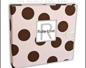 PINK and Brown Large POLKA DOT Album . Ruby Love Modern Baby Memory Book